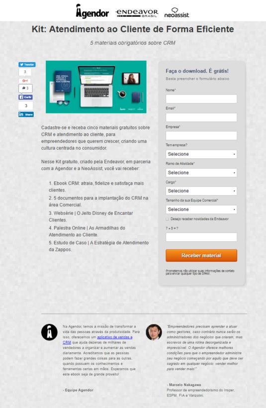 Landing Page Agendor