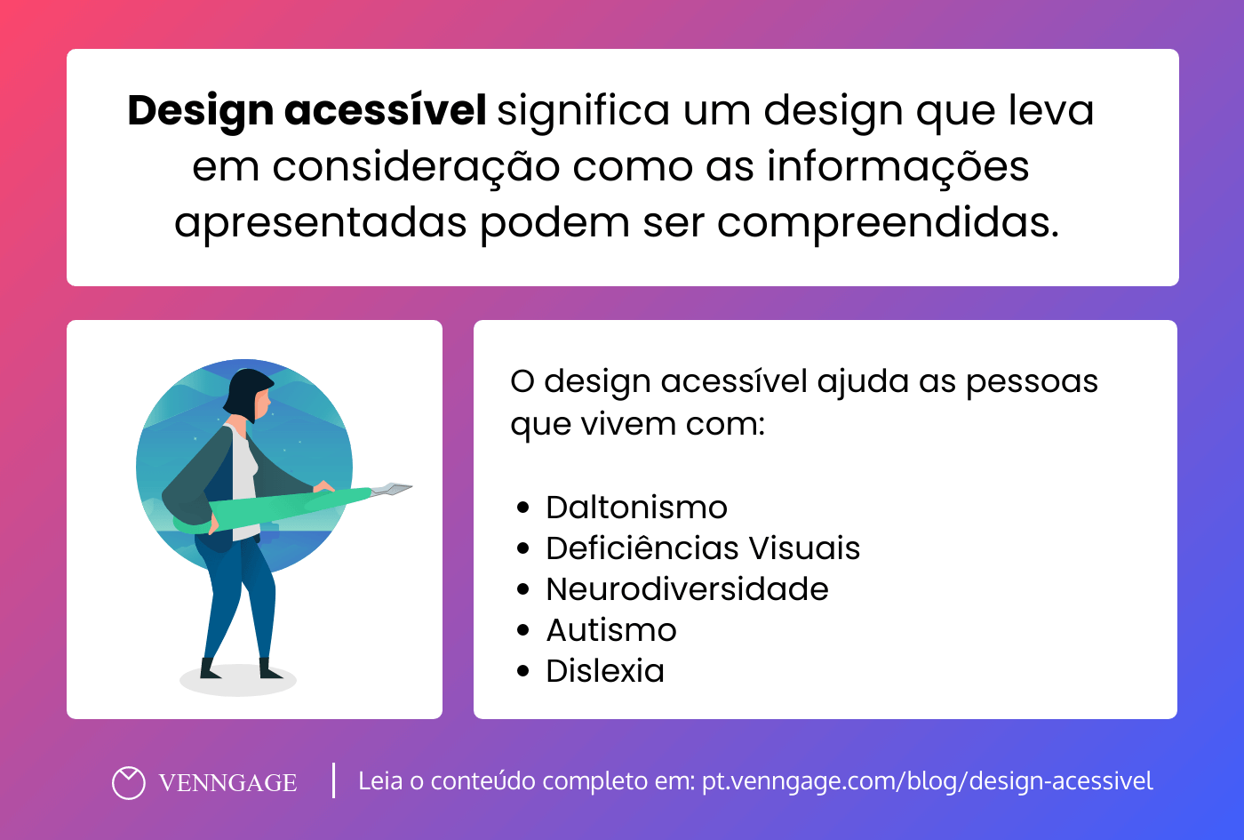 como criar designs acessiveis infografico